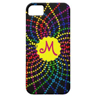 Monogramm-Regenbogen-Polka-Punkt-Blume iPhone Fall iPhone 5 Hüllen