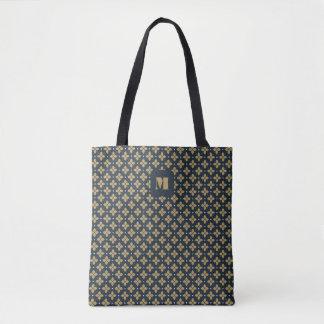 Monogramm-Reihe: Blaue Blumen und Sterne Tasche