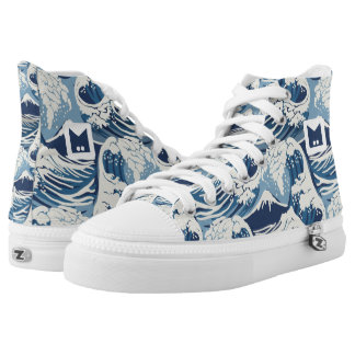 Monogramm-Reihe: Brandungs-Wellen-Muster Hoch-geschnittene Sneaker