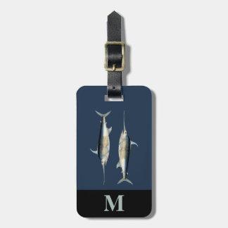 Monogramm-Reise-blaues Grau-Schwertfisch-Fische Gepäckanhänger