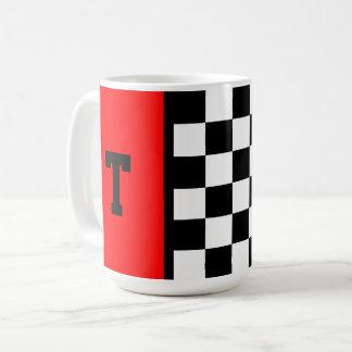 Monogramm-Rennwagen-kariertes Muster mit Rot 15 Kaffeetasse