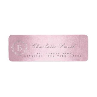 Monogramm-rosa GoldRücksendeadressen-Aufkleber