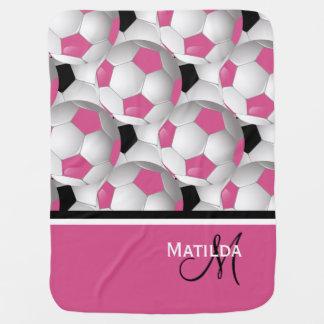 Monogramm-rosa schwarzes Fußball-Muster Baby-Decke