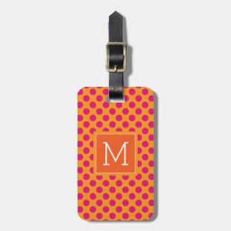 Monogramm | rosa u. orange Tupfen Kofferanhänger