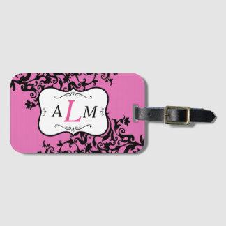 Monogramm-rosa und schwarzer Gepäckanhänger