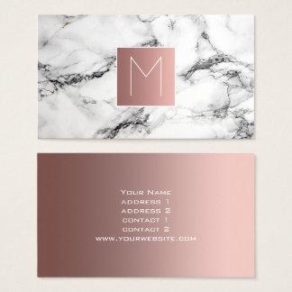Monogramm-Rosengold auf Schwarzweiss-Marmor Visitenkarte