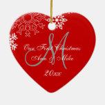 Monogramm ROT des Paares erstes Weihnachtsder Ornament