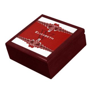 Monogramm-rote u. weiße Spitze-einzigartiges Geschenkbox