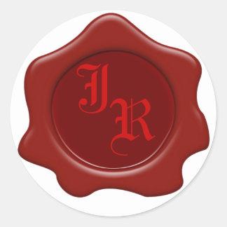 Monogramm-rote Wachs-Siegel-Hochzeits-Aufkleber Runder Aufkleber