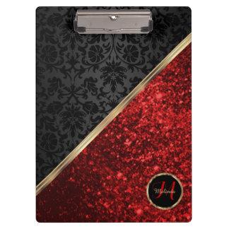 Monogramm-roter Glitter und schwarzer Damast Klemmbrett