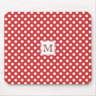 Monogramm: Roter u. weißer Tupfen Mousepad