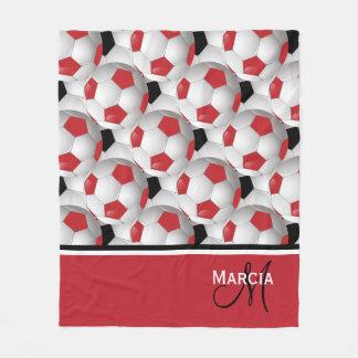 Monogramm-rotes Schwarzweiss-Fußball-Muster Fleecedecke