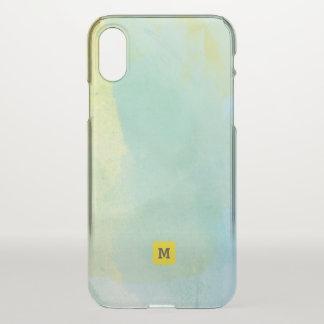 Monogramm. Schatten des grünen und aquamarinen iPhone X Hülle
