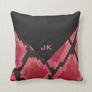 Monogramm-Schlangen-schwarzer und roter Druck Kissen