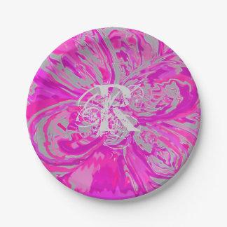 Monogramm-schöner pinkfarbener rosa PapierTeller