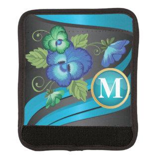 Monogramm-schönes blaues Blumenmuster Gepäck Markierung