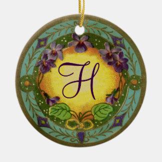 Monogramm-Schönheits-Epochen-französische violette Rundes Keramik Ornament