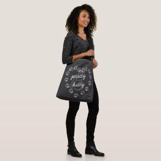 Monogramm-schwarze Katzen-Tatzen-Druck-Herz-Tasche Tragetaschen Mit Langen Trägern