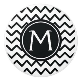 Monogramm-schwarze u. weiße Zickzack Streifen Keramikknauf