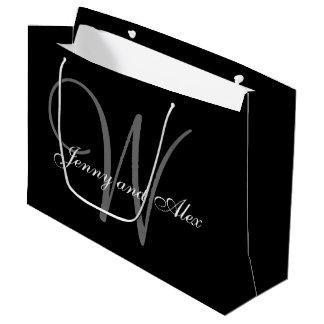 Monogramm-schwarze und silberne Hochzeit Große Geschenktüte