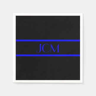 Monogramm-schwarzer und blauer Streifen Servietten