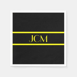 Monogramm-schwarzer und gelber Streifen Papierserviette