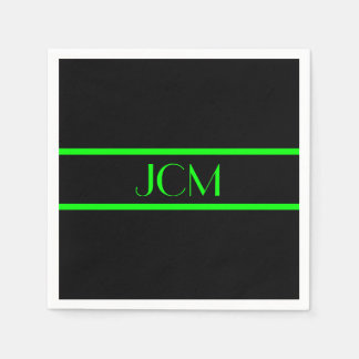 Monogramm-schwarzer und Limoner grüner Streifen Servietten