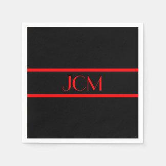Monogramm-schwarzer und roter Streifen Servietten