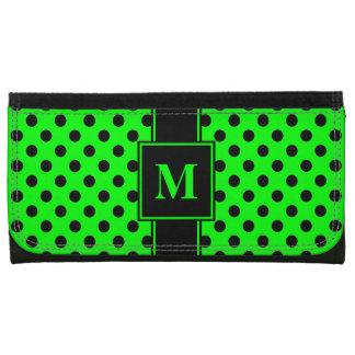 Monogramm-Schwarzes auf Limonem grünem Polka-Punkt