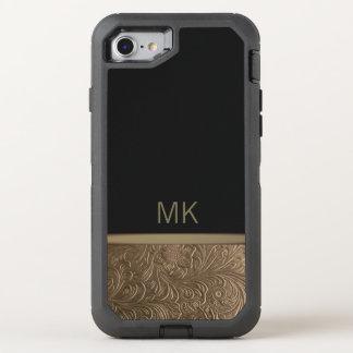 Monogramm-schwarzes Gold OtterBox Defender iPhone 8/7 Hülle