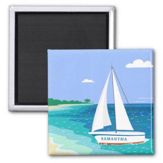 Monogramm-Segelboot-tropischer Strand-Küstenmagnet Quadratischer Magnet