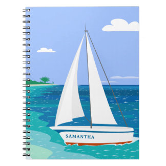 Monogramm-Segelboot-tropisches Küstennotizbuch Spiral Notizblock