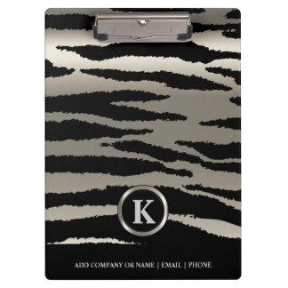 Monogramm-Silber u. schwarze Zebra-Streifen Klemmbrett