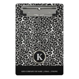 Monogramm-Silber und schwarzes Leopard-Muster Mini Klemmbrett