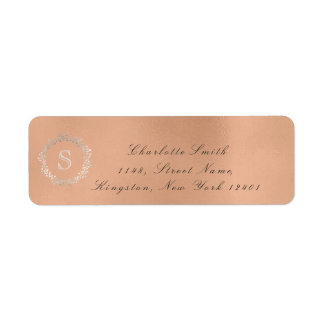 Monogramm-silbernes Rosen-GoldRücksendeadresse