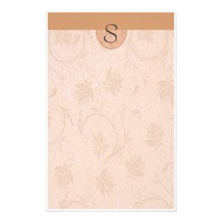 Monogramm-Sommer TAN mit Blumen Bedrucktes Büropapier
