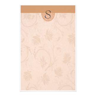Monogramm-Sommer TAN mit Blumen Personalisiertes Büropapier