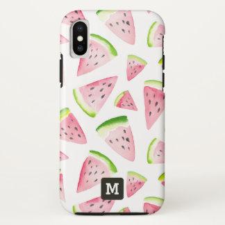 Monogramm. Sommer-Wassermelonen im Watercolor. iPhone X Hülle