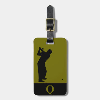 Monogramm-Sport-schwarze Oliven-Golf-Gepäck-Reise Kofferanhänger