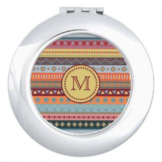Monogramm-Stammes- Herbst färbt Muster-Spiegel Taschenspiegel