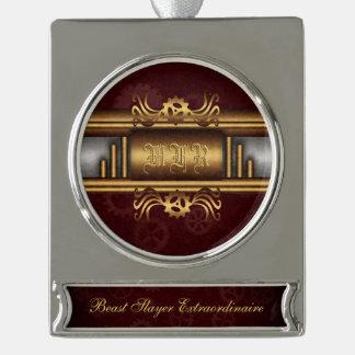 Monogramm Steampunk Kunst-Dekofusion, Messing, Banner-Ornament Silber