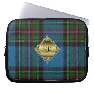 Monogramm-Stewarttartan-karierte Laptop-Abdeckung Laptop Schutzhülle
