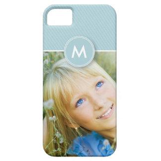 Monogramm-Streifen-Foto-Case-Mate-Fall (Babyblau) iPhone 5 Schutzhüllen