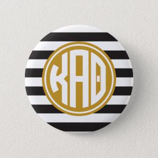 Monogramm-Streifen-Muster des Kappa-Alpha Theta-  Runder Button 5,7 Cm