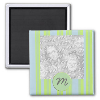 Monogramm stripes Fotorahmen Quadratischer Magnet