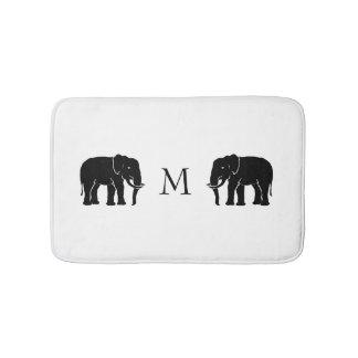Monogramm-symbolische Schwarzweiss-Elefanten Badematte
