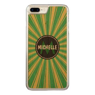 Monogramm tadelloser grüner flippiger Sun Rays Carved iPhone 8 Plus/7 Plus Hülle