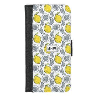 Monogramm-Telefongeldbörsen des Zitronen-Musters iPhone 8/7 Geldbeutel-Hülle