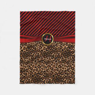 Monogramm-tiefroter Leopard-Tierdruck Fleecedecke