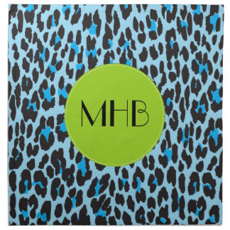 Monogramm - Tierdruck, gepunkteter Leopard - Blau Serviette